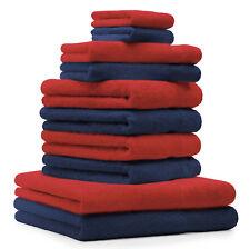"""10-Pcs. Juego toallas """"Premium"""", de color azul marino y rojo,2 toallas de baño ,"""