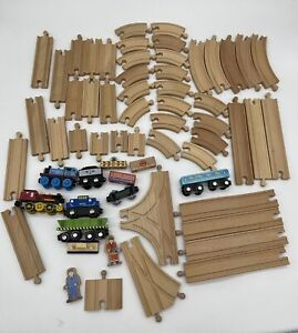 Thomas Train Wood Compatible Track with Magnetic Trains 50 Track Pieces