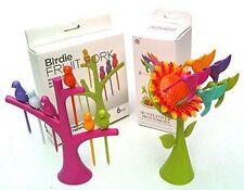 Tree Fruit Fork Set (6 Birdie) and Sunflower Fruit Fork Set
