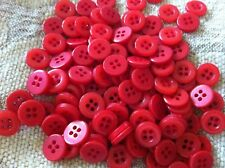 100 pcs round  red buttons  4 holds  Embellishments size 10 mm