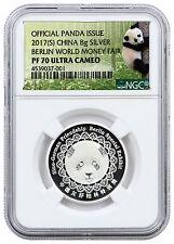 2017 China 8g Silver Berlin World Money Fair Panda NGC PF70 UC (Panda) SKU46302
