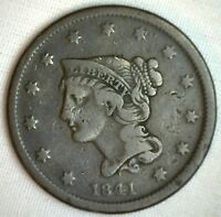 1841 Braided Hair Large Cent Copper FINE US Type Coin M2 Genuine Penny