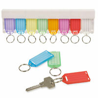 8Pc White Storage Multi Key Rack Holder Hanging Plastic Tags Wall Mounted Home