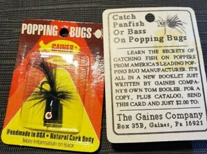 Vintage NOS GAINES Popping Bugs Cork Body Made in USA Bass and Panfish