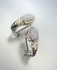 CLASSIC Balinese Silver Cable Gold Pave CZ Crystals Oval Omega Latch Earrings