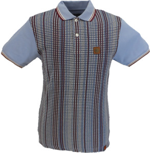 Trojan Records Sky Blue Striped Front Panel Polo Shirt