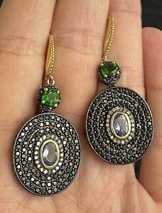 """MLD Carol Brodie Sterling 925 Diamond Amethyst Pierced Earrings SIGNED 2"""" N10"""