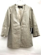 ZARA SILVER-TONED LINEN FROCK COAT SIZE MEDIUM 2753 043 NEW