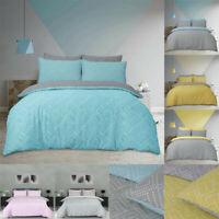 New Dot Print Reversible Duvet Cover Set Single Double Super King Size Quilt Bed