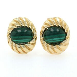 Tiffany & Co. Schlumberger Shell Malachite Vintage Earrings Yellow Gold 18k Oval