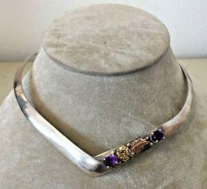 Vintage Sterling 14K Choker Bib Necklace With Purple Stones