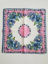 New listing Vintage Ladies Hankie Pink & Blue Floral