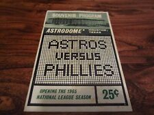 1965 Houston Astros Program vs Phillies Unscored 1st Year Astrodome OPENING DAY