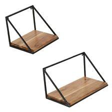 Farmhouse Wooden Wall Mounted Iron Shelf Outdoor Garden Medium Storage Set of 2