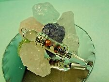 Chakra Pendant Vial Gemstone Chip Faceted Point Crystal Quartz Sterling Silver #