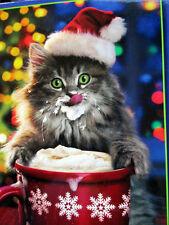 Ceaco Avanti PUZZLE 550 Piece Cat Drinking Santa's Hot Chocolate 18x24 New 2014