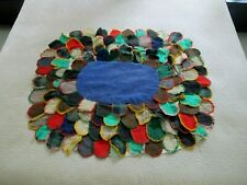"""Antique Amish ? Hand Sewn Wool & Feed Sack SEASHELL Applique """"Quilt"""" Table Top?"""