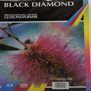 100 Sheets Black Diamond A4 210gsm Gloss Paper