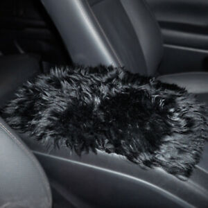 "12x8"" Black Car Sheepskin Center Console Armrest Box Cover Mat Pad Wool Cushion"