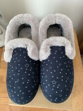 ❤️ WOMENS PADDERS SLIPPERS NAVY & GREY STAR PRINT SIZE 4EE - BRAND NEW.