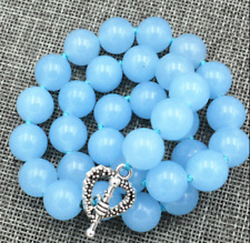 "12mm natural Aquamarine Gemstone Necklace 18 ""Tibetan silver love clasps"