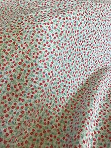 "7 yards x 43"" Vintage Cottagecore Fabric with Red & Blue Flowers 100% Cotton"