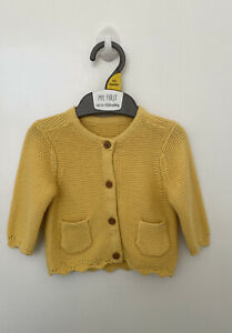 New Mothercare Baby Girls Cardigan Button Up Knitted Yellow Cardi Knit Warm