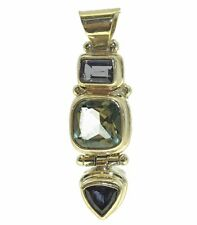 Sarda Sterling Silver Pendant with Iolite and Topaz