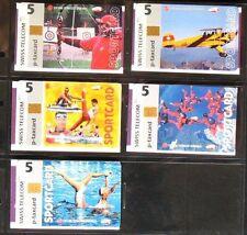 Suisse Cartes téléphoniques Sportcard P-taxcard Taxcard 5 différent mint 1500ex