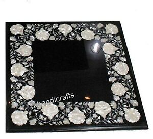 Mother of Pearl Inlaid Coffee Table Top Black Marble Patio Table Size 20 Inches