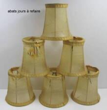 ABAT-JOUR,  (abîmés) PEAU DE VESSIE DE PORC, GALONS PASSEMENTERIE, lot de 6