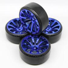 4 PCS BLUE Samurai Wheel Rim +Hard Plastic Drift Tires FOR 1/10 RC On Road Car