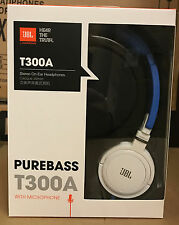JBL T300A Stereo On-Ear Headphones Blue White PureBass Mic Remote iPhone Android