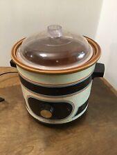 Vintage Rival Crock Pot 3100/2 Slow Cooker Plastic Lid Brown Blue Stripes