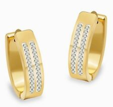 Lovely Stainless Steel Gold Hoop Earrings Made With Swarovski Crystal Jewellery