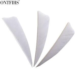 "200pcs 3"" White Shield Cut Archery Fletches Feather Fletching Arrow Feathers"