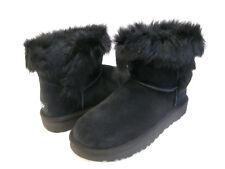 UGG MILLA WOMEN ANKEL BOOTS SUEDE EXPOSED FUR BLACK US 8 /UK 6.5 /EU 39 /JP 25