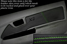 GREEN STITCH 2X FRONT DOOR CARD TRIM SKIN COVERS FITS TOYOTA HILUX 2005-2014