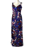 Pepperberry Blue  Floral Bird Print  Stretch Long Maxi Dress Size 12 Super Curvy