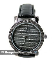 ladies gunmetal black diamond bling dial clubbing watch ice out warranty leather
