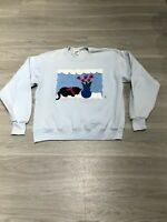 Vintage 80s Abstract Cat Flower Long Sleeve Graphic Crewneck Sweatshirt Women XL