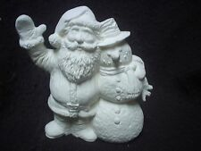 "E041 - Ceramic Bisque 5"" Santa with Snowman - Ready to Paint"