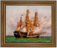 Ölbild, Seeschlacht im Golf von Bengal,Segelschiff HANDGEMALT Gemälde F: 50x60cm