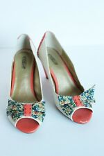Seychelles Peep Toe Kitten Heels, Cream Canvas, Coral & Blue Floral Bows, Sz 7.5