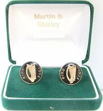 1978 IRISH Cufflinks made from old IRELAND  coins in Black & Gold