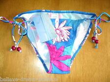 Bikini Bottoms UK 8 Beaded Blue & Pink Tie Sides Floral Design RESORT DN627