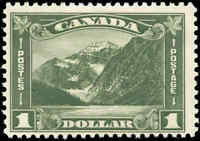 Mint H Canada 1930 F+ Scott #177 $1.00 King George V Arch/Leaf Stamp