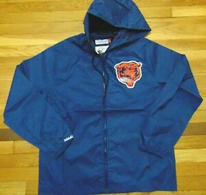 NWT MITCHELL & NESS NFL CHICAGO BEARS BLUE HOODED WIND JACKET SIZE L