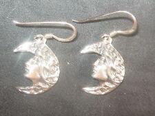 NEW ANTIQUE 925 STERLING SILVER MOON GODDESS WICCAN PENDANT CHARM EARRINGS