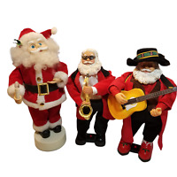 Lot 3 Santa Claus Trumpet Guitar Candle Animated Christmas not working see notes